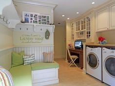 If I had this laundry room do you think my friends would come over when I invite them to come help me do laundry?! Hanging Hats, Under Stairs, Creative Design, Washing Machine, Front Door Shoe Storage, Stacked Washer Dryer, Mudroom, Laundry Room, Lockers