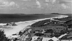 Currumbin Beach on the Gold Coast, Queensland, ca. 1938 - Panoramic view of the…