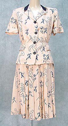 1940's dancer print day suit. Doris Dodson Original.