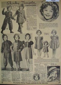 1933 Clothing ads featuring Shirley Temple just prior to her achieving super stardom.
