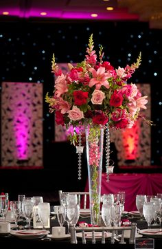 tall center piece w/ beading hanging down. Like the lilies Aqua Wedding, Wedding Table, Floral Wedding, Wedding Bouquets, Wedding Flowers, Dream Wedding, Large Floral Arrangements, Floral Centerpieces, Party Centerpieces