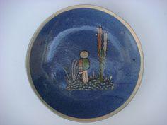 "Old vintage Mexican Tlaquepaque tourist pottery blue plate 9 3/8"" dliam"