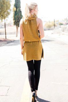Wool Turtleneck Sweater Dress- Camel