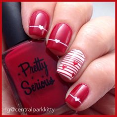 Red, White base, Heart, accent, stripes,