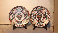 PAIR Antique 18TH 19TH Japanese Imari Porcelain PLATE SIGNED