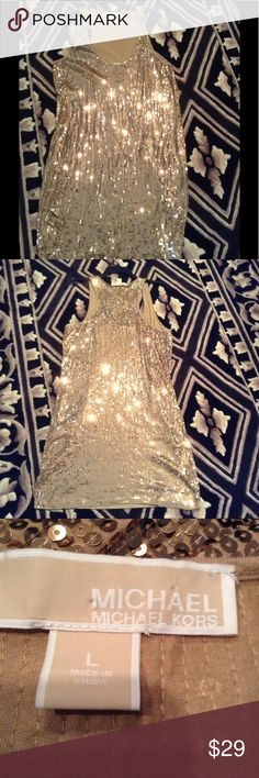 Michael Kors Gold Sequin Dress Gorgeous Michael Kors gold sequin dress, as you can see from the photos, the dress has very long cut outs for the arms and would be worn  with a bandeau, cami or some sort of lace bralette. MICHAEL Michael Kors Dresses Mini