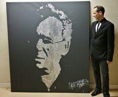 Claude NOUGARO by EriK BLACK Glitter Painting portrait