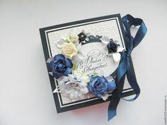 """Купить Свадебная открытка - коробочка """" Синева """" - комбинированный, подарок на свадьбу, свадебный подарок"""