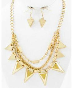 438304 Gold Tone / Gold Acrylic & Glitter / Lead&nickel Compliant / Multi Row / Necklace & Fish Hook Earring Set