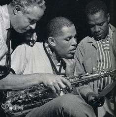Alfred Lion, Dexter Gordon and Ike Quebec during rehearsal for Gordon's Landslide session, Englewood Cliffs NJ, June 25 1962 (photo by Francis Wolff)