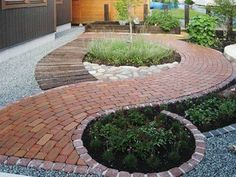A front garden can be said as a magical garden as this is the path which guests take before they approach you. You can use your front garden to your Landscaping With Rocks, Front Yard Landscaping, Backyard Patio, Gravel Patio, Backyard Ideas, Gravel Driveway, Paver Path, Brick Pathway, Concrete Pavers