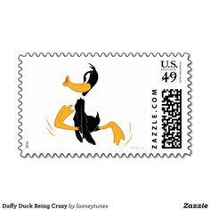 Daffy Duck Being Crazy Postage Stamp #Postage #Stamps #Cartoon #Zazzle
