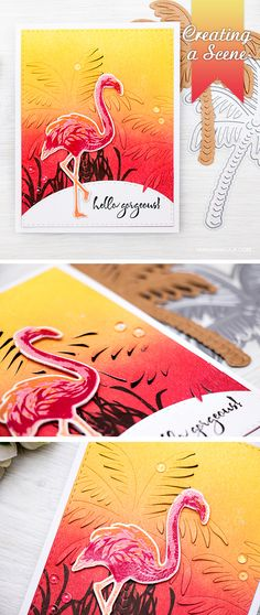 Create a beautiful tropical scene with Hero Arts stamps, dies and inks! I used Paper Layering Palm Tree die along with Color Layering Flamingo to create this card.
