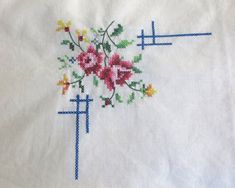 Hand embroidered square tablecloth / supper cloth with cross