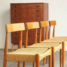 Fresh from the workshop. A set of six teak and woven papercord dining chairs by Arne Hovmand-Olsen, Denmark. Now available online & at Mid Century Dining, Danish Design, Olsen, Denmark, Teak, 1960s, Restoration, Dining Chairs, Workshop