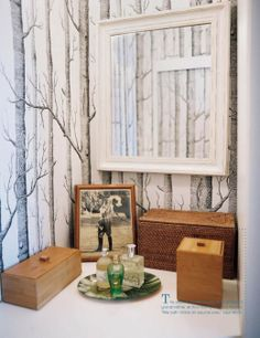Faux Bois - Why not bring a little bit of Narnia into your powder room with this cult classic? Tree Trunk Wallpaper, Tree Wallpaper Bedroom, Powder Room Wallpaper, Bathroom Wallpaper, Of Wallpaper, Amazing Wallpaper, Bathroom Vanity Decor, Bathroom Interior, Bathroom Ideas