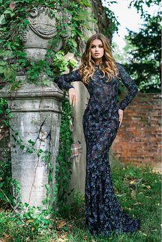 Black Long Sleeve Embellished Open Back Dress 36835
