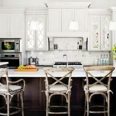 Mirrored Kitchen Cabinets, Transitional, kitchen, Style at Home