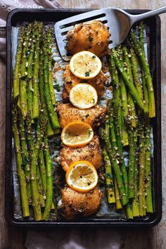 Sheet Pan Garlic Butter Chicken and Asparagus