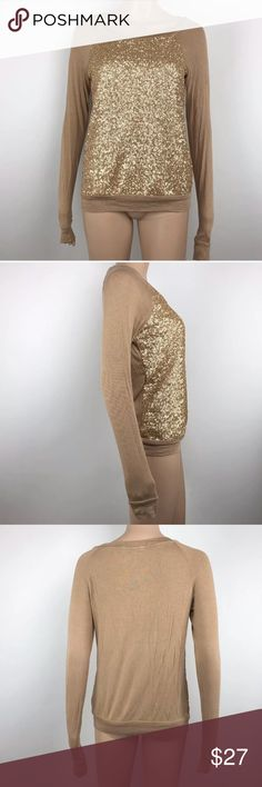 "Three Dots Sequined Long Sleeve Sweater Gold Tan Measurements: Armpit to armpit-17.5"" Shoulder to hem-24"" Sleeves-29"" Condition:  No stains, holes, or piling. Three Dots Sweaters Crew & Scoop Necks"