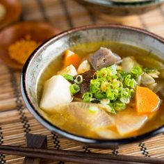 Flavorful vegan soup created originally as a Buddhist temple cuisine (精進料理) with root vegetables, shiitake, and kombu stock.
