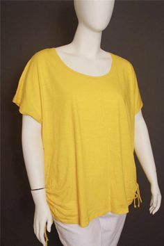 New Lane Bryant Yellow Cap Sleeves Rushed Sides Knit Top Size 22/24 #LaneBryant #KnitTop #Casual