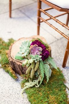 Love this nature inspired ceremony aisle decor!