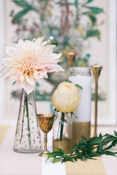 Gold DIY Centerpiece Vessels with Blush Pink Dahlias | Sara Logan Photography | See More! http://heyweddinglady.com/ethereal-woodland-wedding-inspiration-in-ivory-and-blush/
