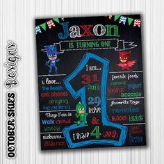 PJ Masks Birthday Chalkboard / Birthday by OctoberSkiesDesigns 3rd Birthday Parties, 4th Birthday, Festa Pj Masks, Chalkboard Poster, Sky Design, Birthday Chalkboard, Mask Party, October, Party Ideas