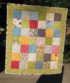 I want to make this as a baby quilt with fabric I already have. Sweet and simple.