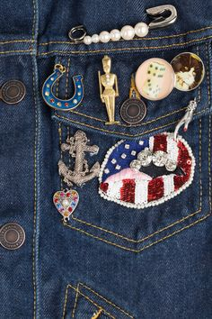 Denim Jacket with Patches and Embellishment  from MARC JACOBS | Luxury fashion online | STYLEBOP.com