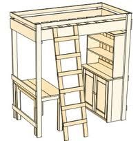 I like the idea of a fully contained personal space like this for children who share a small room.  To make the ladder safer if can be at the foot of the bed (set on top of a large toy chest to lessen the climb).