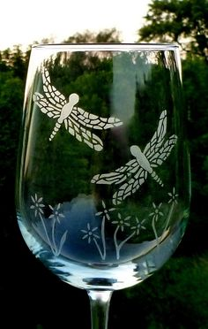 Etched Wine Glasses Dragonflies
