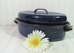 Vintage Blue Graniteware Small Roasting Pan  Retro by DivineOrders, $12.00