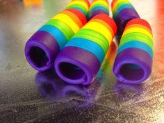 Rainbow Polymer Dread Bead by DarbysCreations on Etsy, $8.00