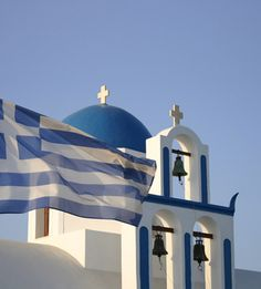 Santorini church with Greek flag Parthenon, Acropolis, Greek Flag, Greece Pictures, Santorini Greece, Ikaria Greece, Santorini Island, Mykonos, Greece Islands