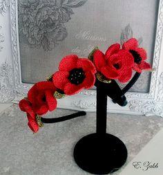 Crochet flower headband.Red flowers.100% cotton.Hair accessories. Vintage hair flowers