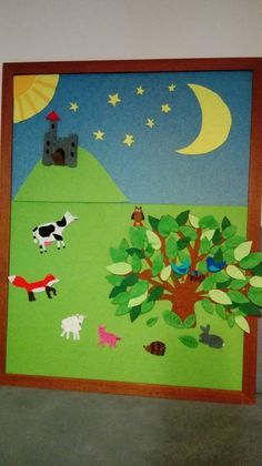 A playtime felt board. All felt and movable. Made with a glue gun and some imagination. Glue Gun, Imagination, Felt, Kids Rugs, Board, Home Decor, Homemade Home Decor, Kid Friendly Rugs, Fantasy