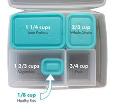 The one I want! Portion Control Lunch Box By Bentology - Bento Box + Portion Guide - Clear and Teal