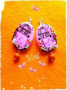 """Happy Bird"" earrings Handmade. Fimo creazioni. Handmade <3"