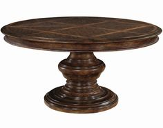 Bernhardt Normandie Manor Round Dining Table 26 in. leaf that extends this table from 60 to 86 in. Decorative pattern of pine and walnut veneers. Measures 60 in. D x 30 in. Round Pedestal Dining Table, Round Dining, Dining Room Table, Dining Chairs, Dining Rooms, Round Tables, Dining Sets, Dining Furniture, Furniture Design