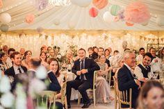 Hanging Paper Lanterns and Pom Pom Wedding Decor Wedding Pom Poms, Wedding Flowers, Matt Willis, Hedingham Castle, Ted Baker Suits, Hanging Paper Lanterns, Marquee Wedding, Jenny Packham, Bridal Gowns