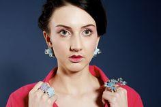 'As Marias' by Maria Torres, 2014. Rings and Earrings. Enamel on metal. UCA Rochester BA(Hons) Contemporary Jewellery.