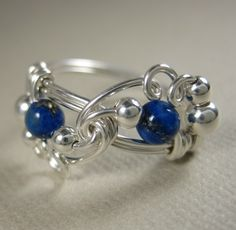 Lapis Lazuli Ring Wire Wrapped Sterling Silver Mardi Gras -- Ring Size Custom -- All Sizes Available