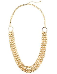 Rows and rows of metallic chainlink strands combine to form this striking must-have. A textured circular connector combines them all to create a layered look. Lobster claw closure with extender. Customized in size and scale for the plus size woman. For your comfort, all Catherines jewelry is free of lead and nickel. catherines.com