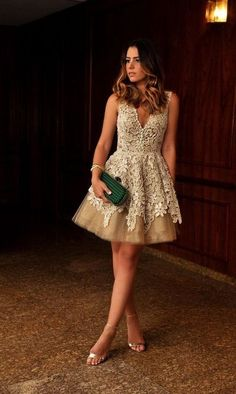 Sexy Short Length V-neckline Champagne Lace Homecoming Dress,034