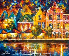 Amsterdam Of My Dreams — Palette Knife Netherlands Artwork Oil Painting On Canvas By Leonid Afremov. Size: X Inches cm x 60 cm) Oil Painting Abstract, Abstract Canvas, Painting Art, Tango, Modern Wall Art, Canvas Artwork, Online Art Gallery, New Art, My Dream
