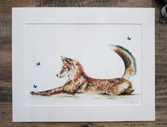 Giclee fox print, with morpho butterflies and hand painted blue iridescent paint. Fox Painting, Morpho Butterfly, Me And My Dog, Watercolor Fox, Fox Print, Contemporary Artwork, Wildlife Art, Electric Blue, Pet Portraits