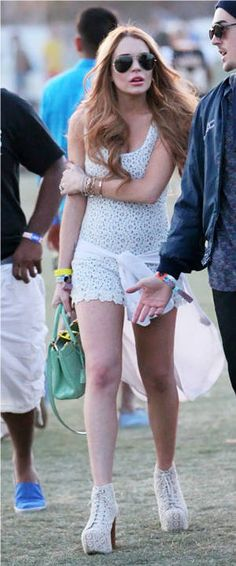 Lindsay Lohan in crochet-trim dress with matching shoes at Coachella