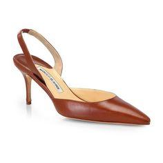 Manolo Blahnik Carolyne Leather Slingback Pumps featuring polyvore women's fashion shoes pumps luggage manolo blahnik shoes genuine leather shoes pointy toe pumps slingback shoes fleece-lined shoes